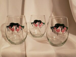 Stemless Wine glasses Flamingo Pink 3 pc EUC LN