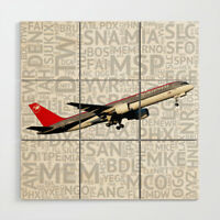 Northwest Airlines Boeing 757 with Airport Codes - 3' x 3' Wood Wall Art