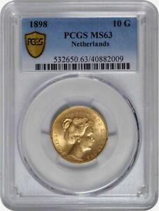 PCGS-MS63 Netherlands 1898 Wilhelmina 10 Gulden Gold Coin