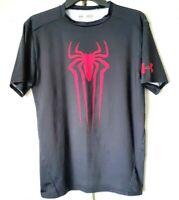 Under Armour Spider-Man Marvel Compression Wear SS Black Red Spider Shirt Sz XL