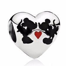 S925 Love Kiss mouse silver charm pendant bead For European bracelet bangle
