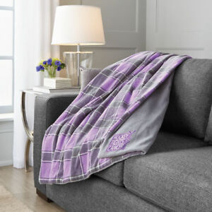 SUNBEAM HOCKEY FIGHTS CANCER MICROPLUSH HEATED THROW BLANKET GREY PURPLE PLAID