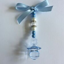 Personalised baby pram charms hand made blue dummy /keepsake /gift
