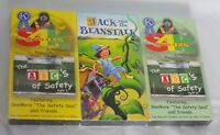 3 VHS Safety 4 Kids: The ABC's of Safety Part I II & Jack and the Beanstalk