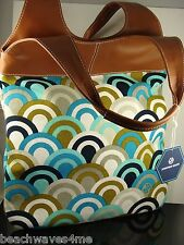 Jonathan Adler Designer Tote Hand Bag Leather/ Blue Tsarina Fabric MSRP $248 NWT