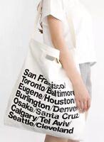 American Apparel Cities Print Oversized Denim Tote Handle Bag White Black Letter