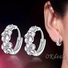 Women Lady 925 Sterling Silver Crystal Rhinestone Flower Earrings Jewelry