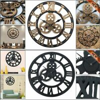 40/60CM Large Round Skeleton Big Vintage Wall Clock Roman Numeral MDF Board