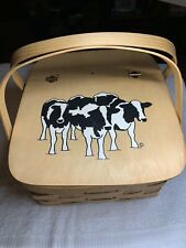 Woven Wood Dual Handled  Picnic Basket Holstein Cows On Wooden Hinged Lid