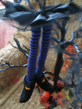 """15"""" Simply Fall Purple & Black Witch Legs w/Skirt and Shoe-Boot Ornament, New"""
