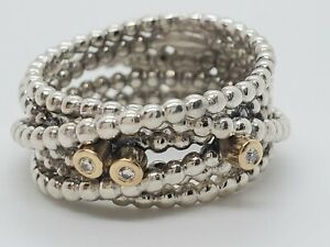 Pandora Sterling Silver 925 14k Gold 3 Diamond Entangled Beauty 190242d Ring ALE