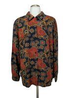 Pendleton Womens Button Front Top Blouse Size 18W Plus Floral Belt Print