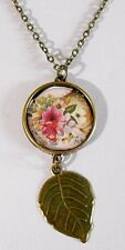 Bronze floral pendant + leaf - 20'' bronze chain, pink + yellow