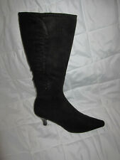 "STYLISH""IMPO STRETCH"" WOMEN BLACK FABRIC  ZIP SIDE MID HEEL BOOTS 6M"