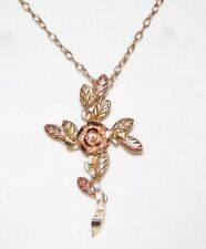 Black Hills Gold Rose Cross Pendant Necklace 10 kt Solid Gold Chain