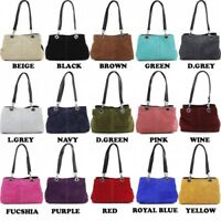 Women's Small Italian Suede Leather Triple Compartment Top Handle Shoulder  Bag