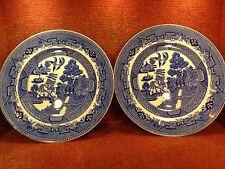 "2 VICTORIA PORCELAIN Blue & White WILLOW 9.75"" DINNER PLATES c1949 FREE UK POST"