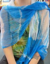 Silky Colourful Indian Thin Scarf Wrap With Beads White Base Tie Dye Light Blue
