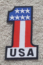 USA NUMBER ONE FLAG PATCH Cloth Badge/Emblem/Insignia Biker Jacket Bag Iron Sew