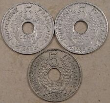 French Indo China 1923,30,+38(4 grams) Five Cents Better Grades As Pictured