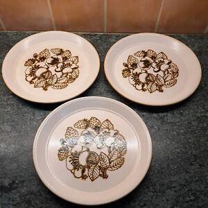 Staffordshire KilnCraft Bramble Dinner Plates x 3 Heavy Vintage 70's