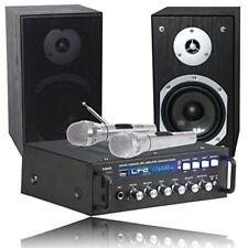 Sistema karaoke set amplificador 2 altavoces Microfonos USB RCA Bluetooth MP3 PC