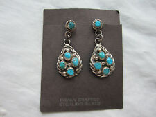 Earrings Pair American West Turquoise Handcrafted Sterling Silver Signed New