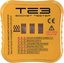 13A Mains 3 Pin Socket Plug Tester Test Electrical BS1363 Error Fault Wiring