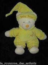 Doudou Ours Baby Bear jaune et blanc avec un long bonnet de nuit lune Gipsy