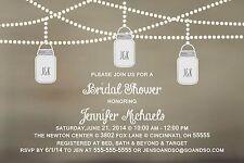 Bridal Wedding Couples Shower Invitation Mason Jar Any Colors