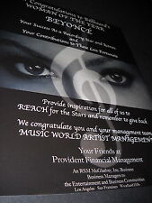 Beyonce You provide.Inspiration etc. 2009 Promo Display Ad mint cond