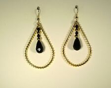 Earrings Glass Black Gold Plated No Stone Drop 2.25 in. Handmade GB USA New WOT