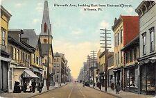 Altoona Pennsylvania Eleventh Avenue Looking East Antique Postcard (J12510)
