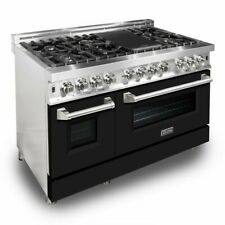 "Zline 48"" Dual Fuel Range Oven Gas Electric Black Matte Door Ra-Blm-48"
