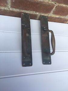 A Classic Pair Antique Brass Art Nouveau Door Handles
