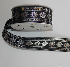 30mm black silver  jacquard embroidered ribbon applique motif trimming decor