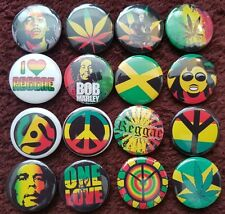 Bob Marley Reggae Jamaica Peace Button Badges x 16. Pins. Collector. Bargain :0)