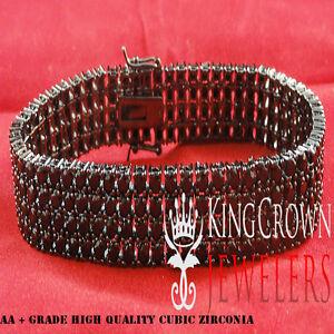 Mens Women 4 Row Black Lab Diamond 14k Black Gold Finish Hip Hop Tennis Bracelet