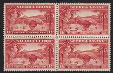 SIERRA LEONE : 1938 GVI 1 1/2d scarlet  SG 190  mint block of four stamps