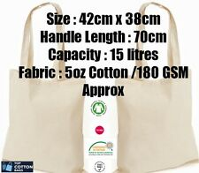 10 x 100% COTTON SHOPPING PLAIN BAGS  ECO FRIENDLY TOTE SHOULDER SHOPPER HANDBAG