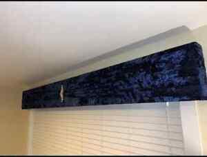 Midnight Navy Blue Deep Crush Velvet Window Pelmet with Sash & Brooch