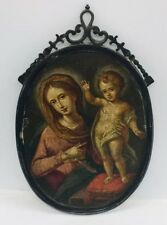 Antique 18th Century Miniature Religious Woman & Child Painting & Silver Frame