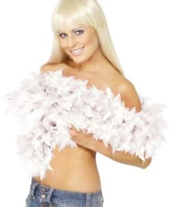 20s 1920s Deluxe Feather Boa White Fancy Dress Hen Party 2 Yd New by Smiffys