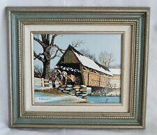 "H. Hargrove ""Covered Bridge"" Giclee on Canvas Print Framed 15x13"" (A0023)"