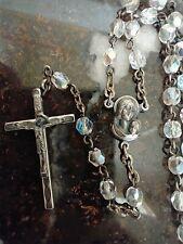 Vintage Catholic Clear Crystal Glass Rosary