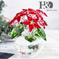 Crystal Poinsettia Large Flower Figurine Christmas Decor Holiday Ornaments Red