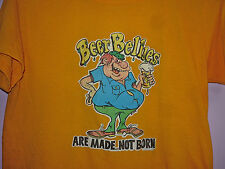 Vintage 70s Beer Bellies Are Made Not Born 50/50 T Shirt Yellow S