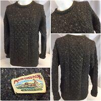 Adirondack Savile Row Fisherman Sweater M Gray Wool Crew Ireland Mint YGI B9-431