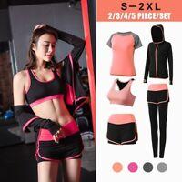 5Pcs/Set Women Yoga Running T-Shirt Fitness Bra Gym Clothing Workout Sports Suit