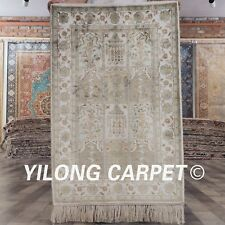 YILONG 2'x3 Garden Scene Handmade Silk Area Rug Indoor Floral Carpet 216B